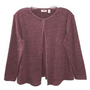 LOGO Lori Goldstein Knit Long Sleeve Button Up Top